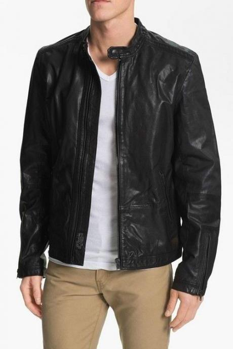 MENS MOTORCYCLE LEATHER JACKET, BLACK LEATHER JACKET MEN
