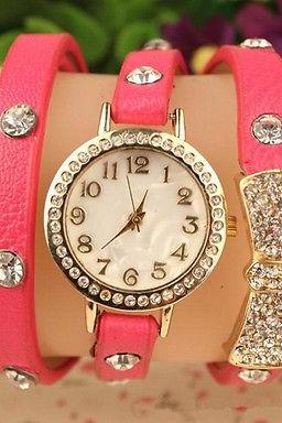 Women Hot Crystal wrap Around leather strap quartz bracelet Chain wrist watch