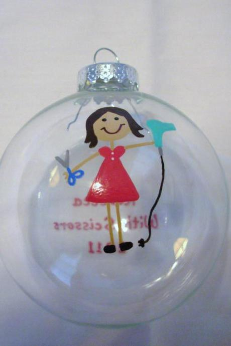 Handpainted Hairdresser Ornament Reserved for MapsMom