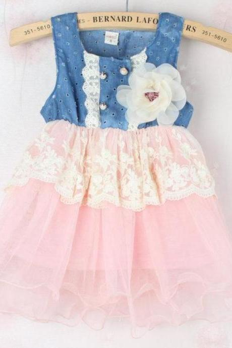 Ready for Shipping! Pink Toddler Girl Denim Tutu Lace Dress Denim White Floral Pink Dress