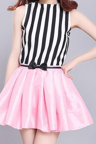 striped shirt + bow pink skirt (Two-piece) HT625BB