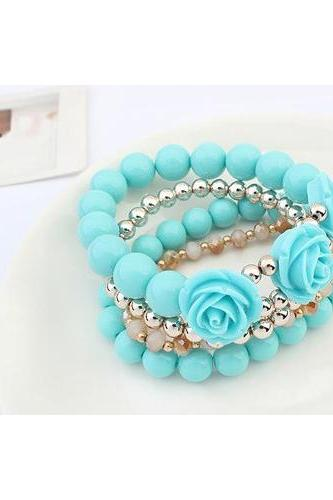 Women Blue Alloy Bracelets rose