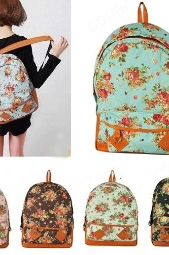 Garden Floral canvas shoulder bag BACEE