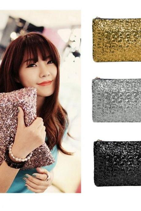 HOT SALE New Fashion Dazzling Sequins Handbag Party Evening Bag Wallet Purse Glitter Spangle Day Clutches Bag