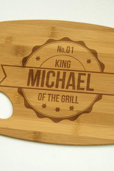 King Of The Grill with Name Bamboo Cutting Board 9' by 12', Laser cut engraving on wood designed to your needs