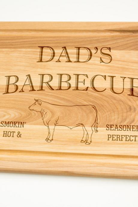 Dads Barbecue Smokin' Hot and Seasoned to perfection Hardwood Cutting Board 12' by 16', Laser cut engraving on wood designe