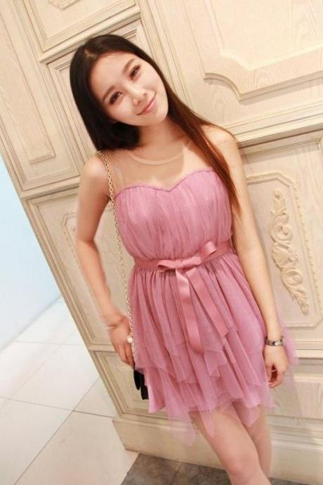 Pretty Light Purple Chiffon Mini Party Dress with Bow, Chiffon Party Dresses, Dresses
