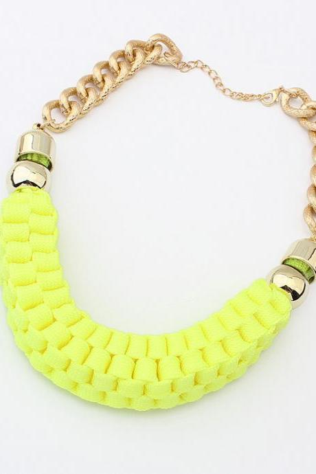2014 New Fashion Handmade Cotton Cord Weave sugar color Necklace Chunky Chain Golden Collar Choker For Women