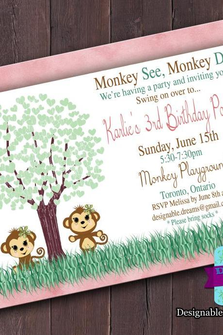 Monkey Hearts - Invitation (Birthday or Baby Shower)