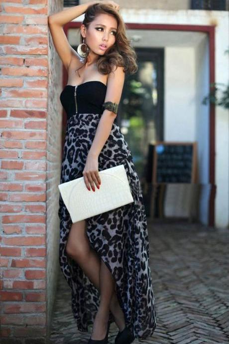 Sexy Leopard Print Irregular Hem Tube Dress