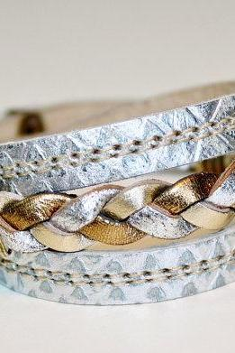 Bronze ,Gold and Silver Braide Wrap Bracelet / Metallic Snakeskin Leather Cuff