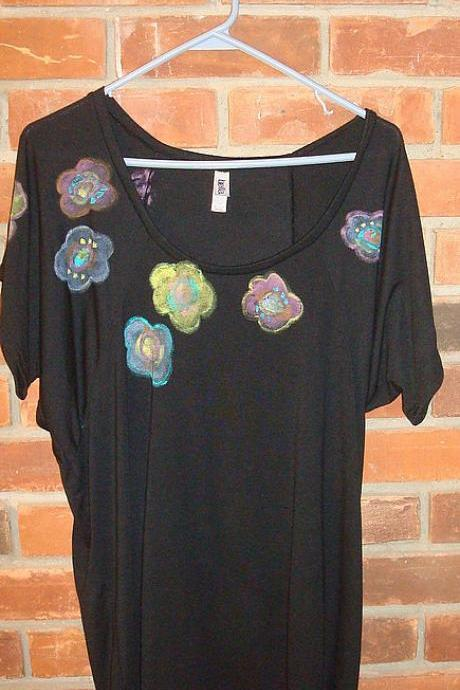 Hand Painted Women's Raglan Sleeve Flowy T-shirt