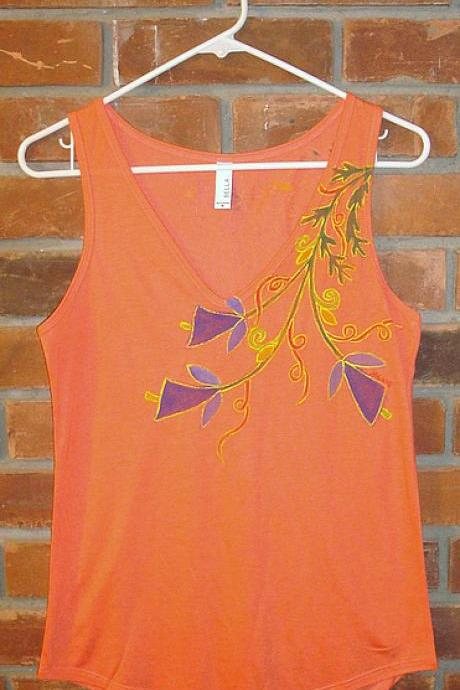 Hand Painted Women's V-neck Tank Tops Abstract Floral