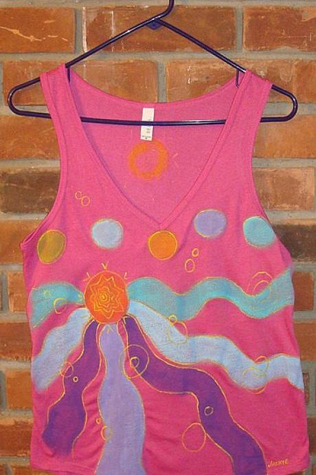 Abstract Art Hand Painted Women's V-neck Tank Top