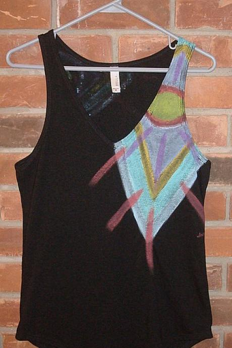 Funky Abstract Art Hand Painted Women's V-neck Tank Top