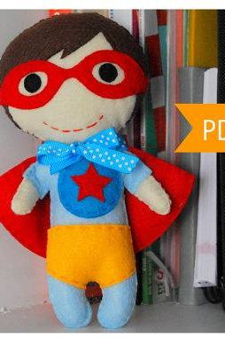 SUPERHERO Sewing pattern - Felt Superhero Toy PDF ePATTERN, Kids craft Project A977