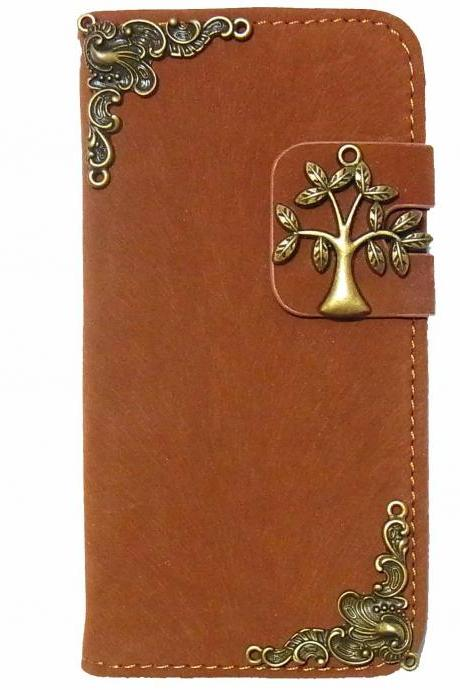 iPhone 5 wallet case,Tree iPhone 5s case, Victorian iPhone 5 case,iPhone 5 leather case,Victorian Credit Card wallet iPhone 5s iPhone 5 case cover Brown