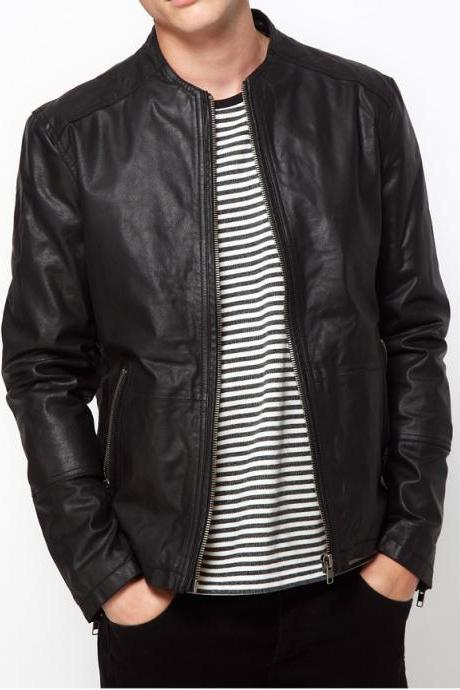MEN BLACK STYLISH LEATHER JACKET, LEATHER JACKET MENS