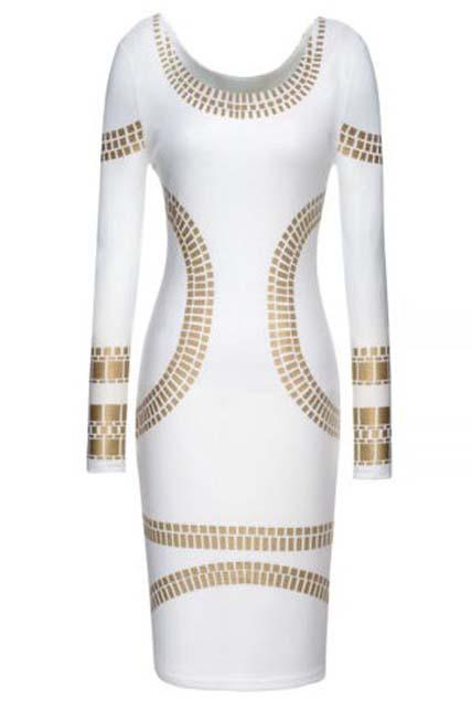 Sexy And Elegant Long Sleeve Knee Length Scoop Dress - White