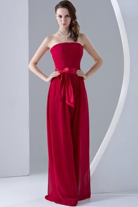 Sash/Bow Chiffon Strapless Floor-length Bridesmaid Dress - Made to Order - Custom Size