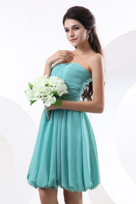A-line Strapless Knee Length Chiffon Party Dress - Custom Tailored Tea Length Bridesmaid Dress