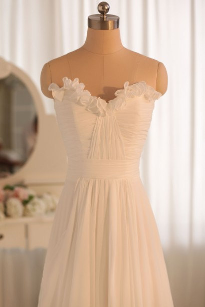 Sweetheart Neckline Dress with Ruffle Details - Beach Wedding Dress/ Gown - Custom Tailored