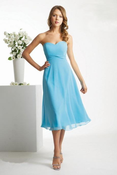 Custom Tailored Bridesmaid Dress - Tea Length Sweetheart Neckline Sash Bow - A Line Chiffon Gown