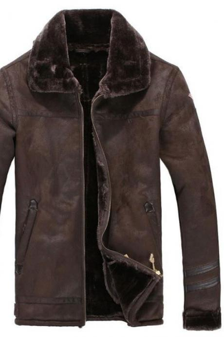 Brown Leather Jacket-Brown Leather Jacket-Winter Faux Fur Coat-Deep Brown Fur Coats for Men