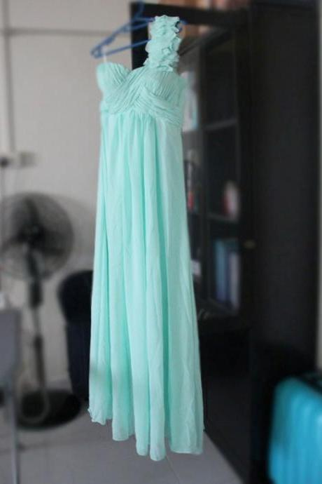 CLEARANCE - Light Mint Green Long Prom Dress - Sweet Heart Neckline - One Shoulder Ruffles - Column Floor Length Chiffon Gown