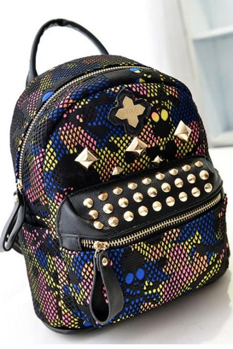 Vintage Rivet Floral Printing Canvas Backpack