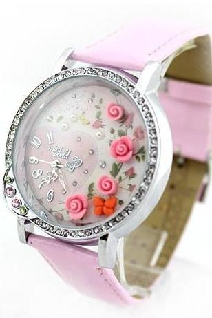 Korean watch mini world +original box rose