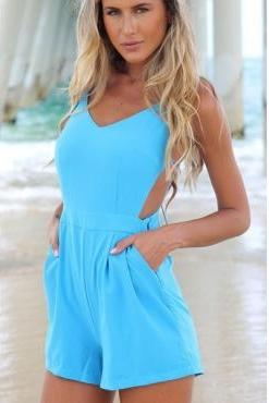 Sexy V Neck Spaghetti Strap Backless Solid Blue Polyester Jumpsuit Blue