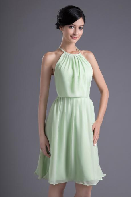 Halter A Line Knee Length Chiffon Bridesmaid Dress - Light Green - Custom Tailored - Choose Your Color