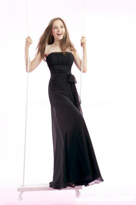 Strapless, A Line Chiffon Dress with Matching Bow on Waistline - Custom Made Floor Length Long Bridesmaid Dress - Black