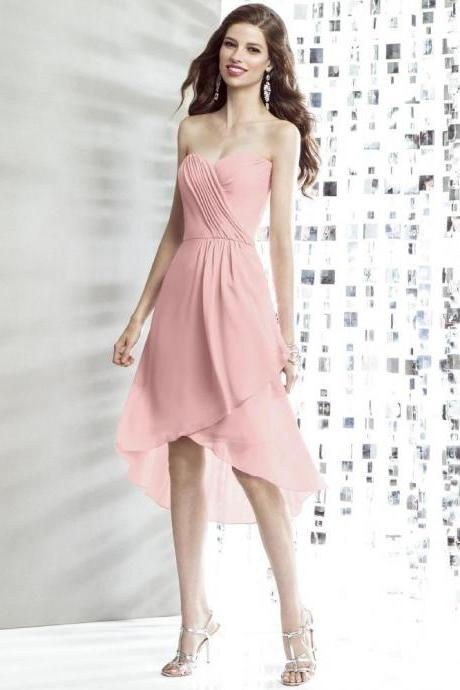 Custom Tailored Bridesmaid Dress - Strapless Sweet Heart Neckline Knee Length High Low Skirt - Dusky Pink