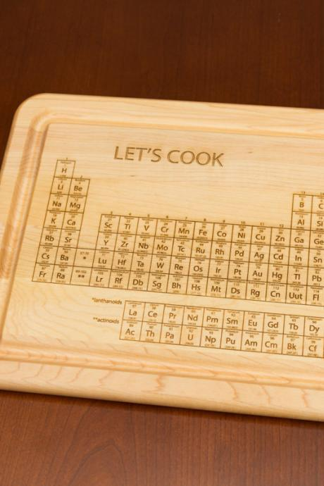 Lets Cook - Periodic table of elements Engraved Cutting Board - House warming decor, Graduation gift