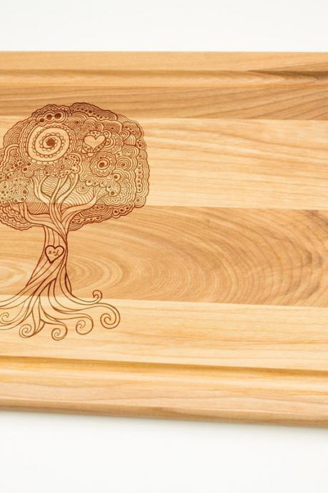 Tree of Love with initials engraved on the wood Cutting Board select sizes Laser cut engraving on wood designed for you House warming decor