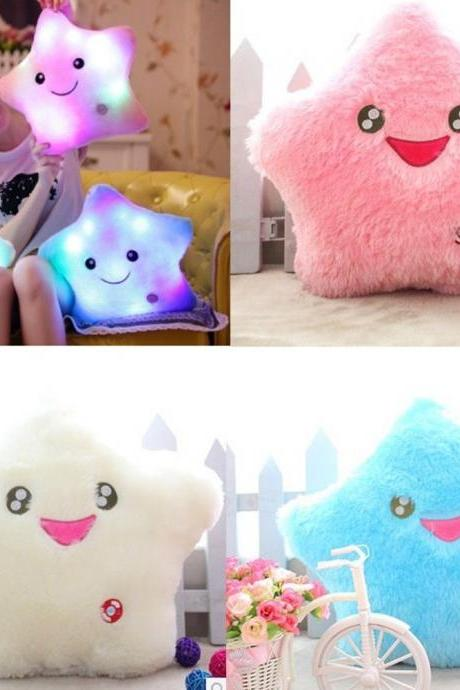 Home Decor Light Thrown Changing LED Colorful Light Smile Star Toss Pillows