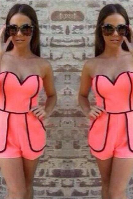 Sky Low-cut dress chest wrapped Playsuit Rompers Pink