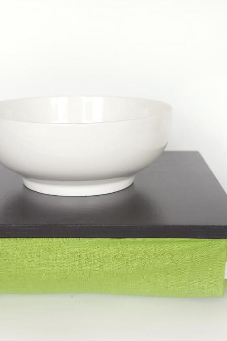 Stable table, iPad stand or wooden Breakfast in Bed serving Tray - Graphite grey with spring green linen Pillow
