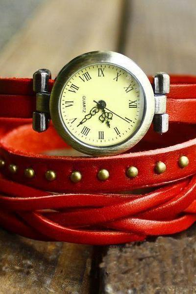 Women fashion braid high quality roma number cow leather watch watch, high quality round rivet quartz wrist watch red