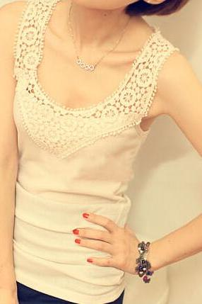 Summer Hollow Crocheted Lace Tank Top 2014, Lace Top 2014, Top, Tops