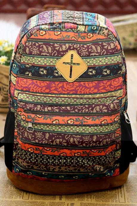 Fashion Geometry Totem Canvas Backpack