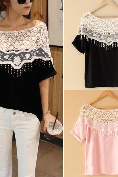 Lace hollow T-shirt W23