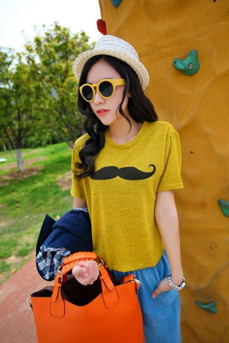 Mustache Print Short Sleeve T-Shirt