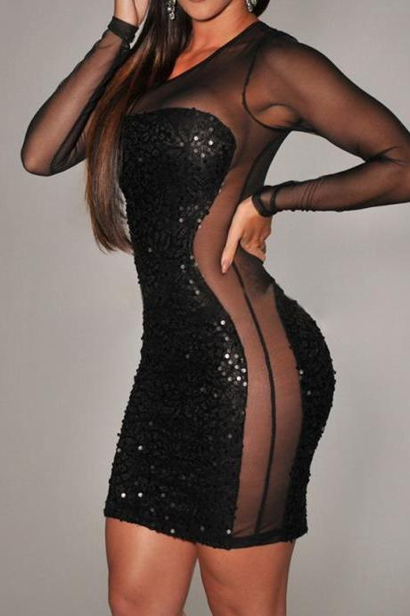 Sexy Style Round Collar See-Through Voile Splicing Sequin Embellished Black Bodycon Dress For Women