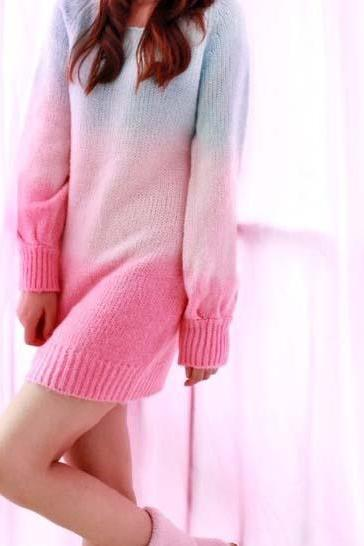 Sweater dresses,Gradient rainbow sweater dress