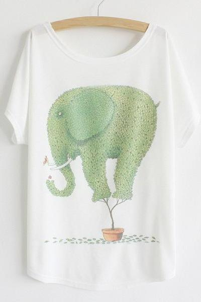 Casual Scoop Neck Cartoon Green Elephant Print Color Block Women's T-Shirt