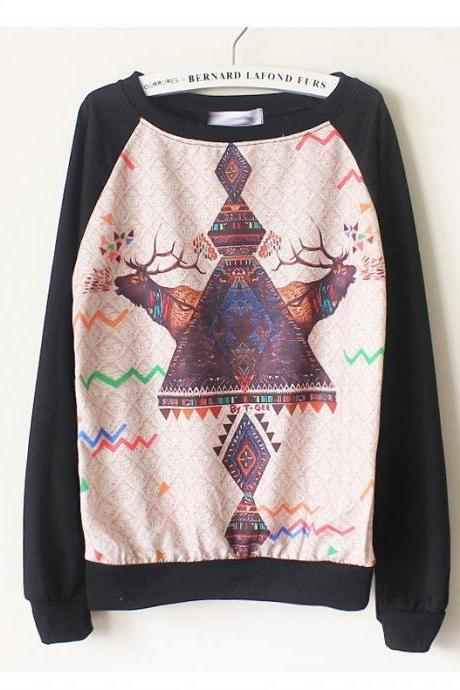 Harajuku Animal Deer Print Sweatshirts , Long Sleeve Patchwork Hoodies
