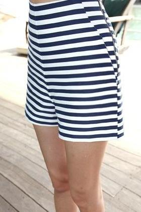 Stripe navy high waist shorts